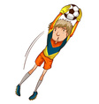 A coloured drawing of a male soccer player vector image vector image