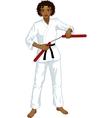 African American Nunchuck girl in karategi vector image vector image