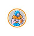 American Football Receiver Running Ball Circle vector image
