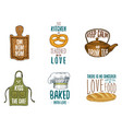 apron and saucepan bagel and wooden board with vector image vector image
