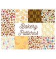 Bakery and patisserie desserts patterns vector image