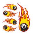 billiard ball 8 on fire vector image
