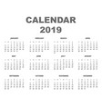 calendar 2019 back vector image