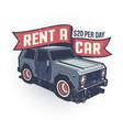 car rental retro logo with suv vector image