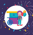 circus clown with pop corn cart and balloons vector image