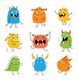 colorful cartoon cute funny monsters vector image vector image