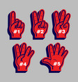 counting finger glove sport fans vector image