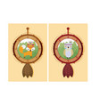 cute animals cartoon on dream catcher vector image vector image