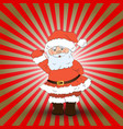 cute santa claus on red ray christmas background vector image