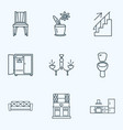 decor icons line style set with kitchen set vector image
