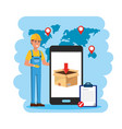 delivery man with smartphone service and check vector image