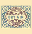dirty gin label with floral frame vector image vector image
