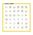 Email flat design icon set Envelope link vector image