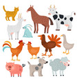 farm animals cow horse and rabbit dog and vector image