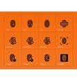 Fingerprint icons on orange background vector image vector image