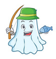 fishing cute ghost character cartoon vector image vector image