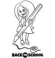 girl with pencil back to school cartoon color book vector image vector image