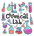 hand drawn chemistry and science color icons set vector image vector image