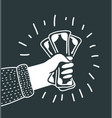 hand holding money isolated on black background vector image vector image