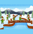happy kid wearing elf costume on the bridge in the vector image vector image