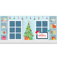 interior workplace on christmas vector image vector image