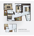 layout interior plan with furniture vector image vector image