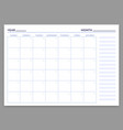 monthly planner template month and week vector image vector image