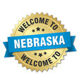 nebraska 3d gold badge with blue ribbon vector image vector image