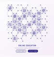 online education concept in honeycombs vector image vector image