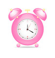 pink alarm clock with heart and black and red vector image