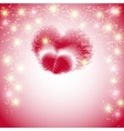Postcard with a heart made of feathers on a pink vector image vector image