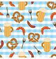 pretzels beer sausage fork seamless pattern vector image vector image