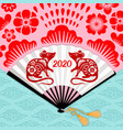 rat chinese new year fan vector image vector image