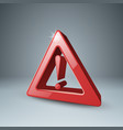 red 3d icon attention danger vector image
