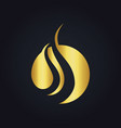 round wave gold logo vector image vector image