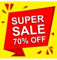 Sale poster with SUPER SALE 70 PERCENT OFF text vector image vector image