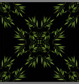 seamless pattern of green cartoon leaves and twigs vector image