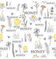seamless pattern with bees and flowers hand drawn vector image vector image