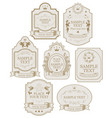 set labels in beige and gold colors vector image