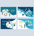set landing page for business solutions vector image vector image