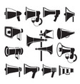set monochrome pictures of megaphones vector image vector image