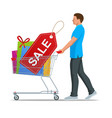 shopping trolley or full colorful gift boxes vector image