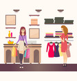 shopping woman with purchases in paper bags vector image
