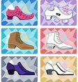 Six stylish man shoe vector image