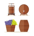 Wine barrels set Basket with grape vector image vector image