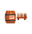wooden barrel and glass jar with honey apiary vector image vector image
