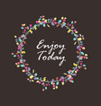 wreath with colorful eucalyptus leaves on dark vector image vector image