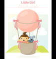 A little girl and her dog riding a hot air balloon vector image