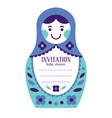 matryoshka russian nesting doll baby invitation vector image