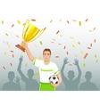 Footballer with winner cup vector image